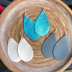 Jewelry - 3 Genuine Leather Earrings Teardrop Real NEW